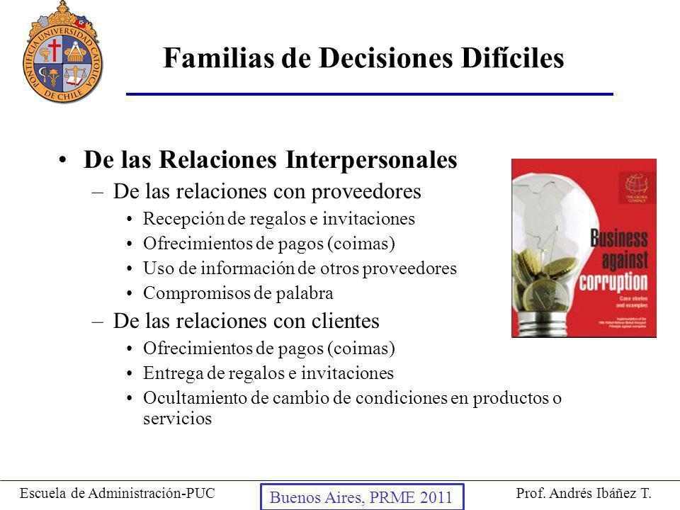 Familias de Decisiones Difíciles