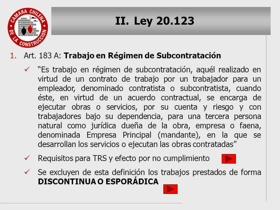 Ley 20.123 Art. 183 A: Trabajo en Régimen de Subcontratación