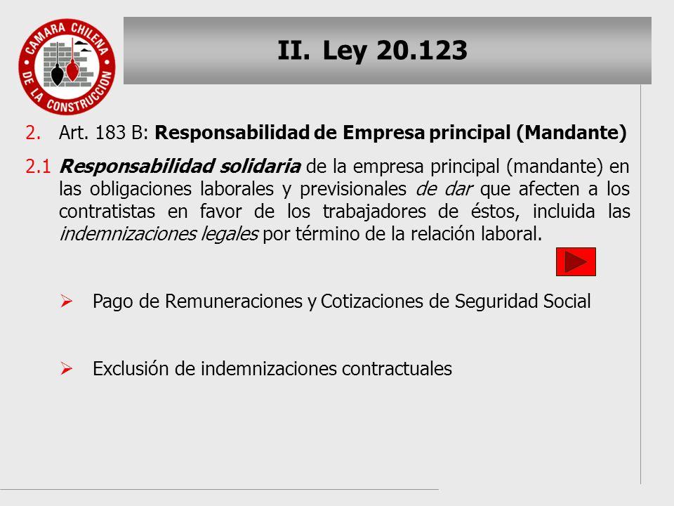 Ley 20.123 Art. 183 B: Responsabilidad de Empresa principal (Mandante)