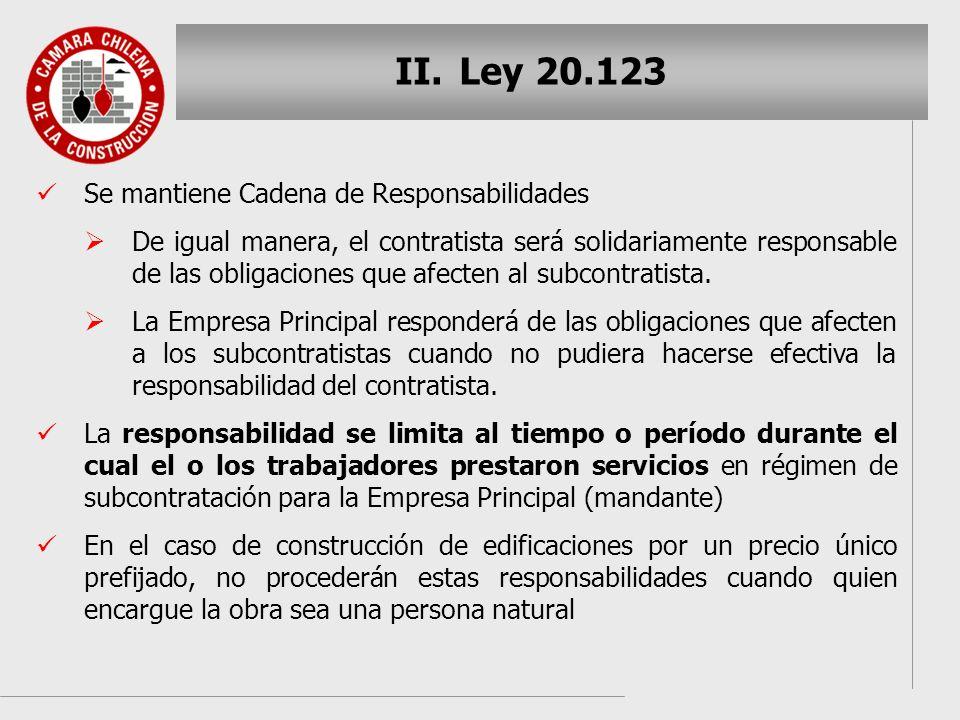 Ley 20.123 Se mantiene Cadena de Responsabilidades