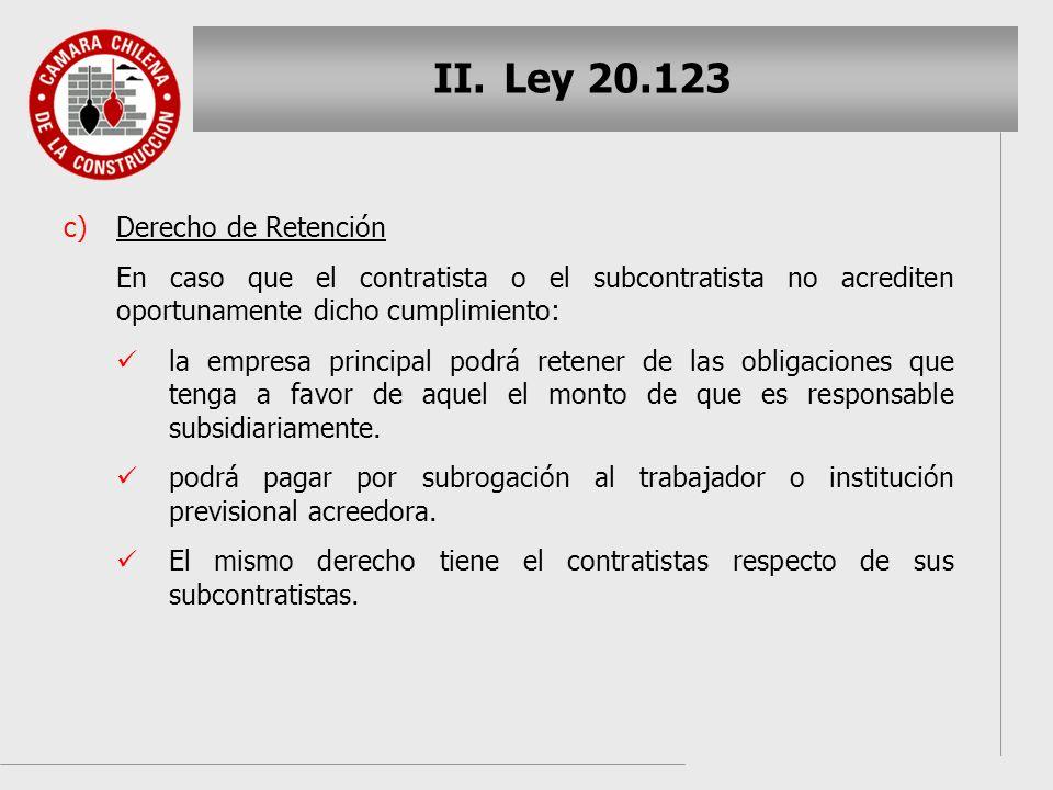 Ley 20.123 Derecho de Retención