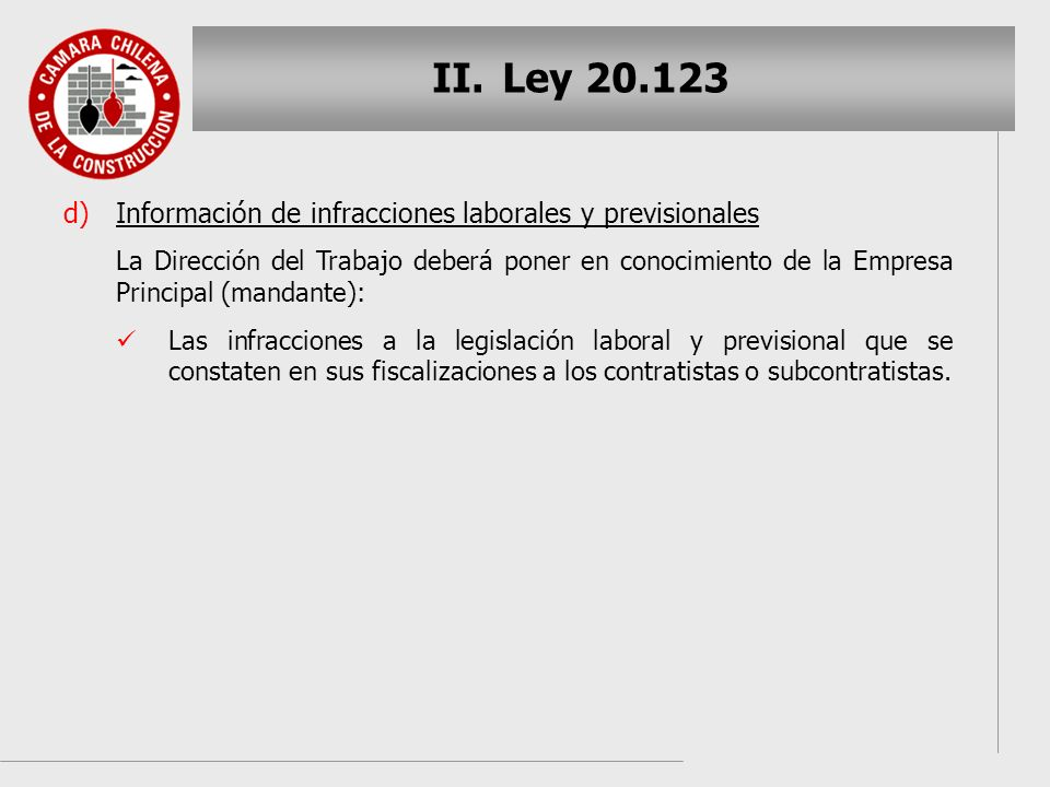 Ley 20.123 Información de infracciones laborales y previsionales