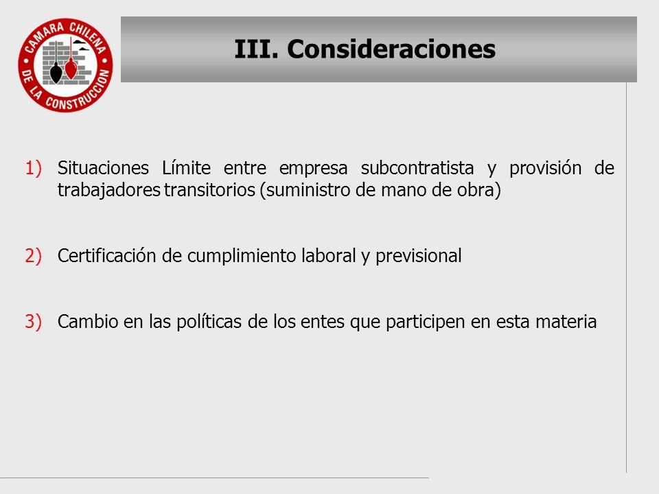Consideraciones Situaciones Límite entre empresa subcontratista y provisión de trabajadores transitorios (suministro de mano de obra)