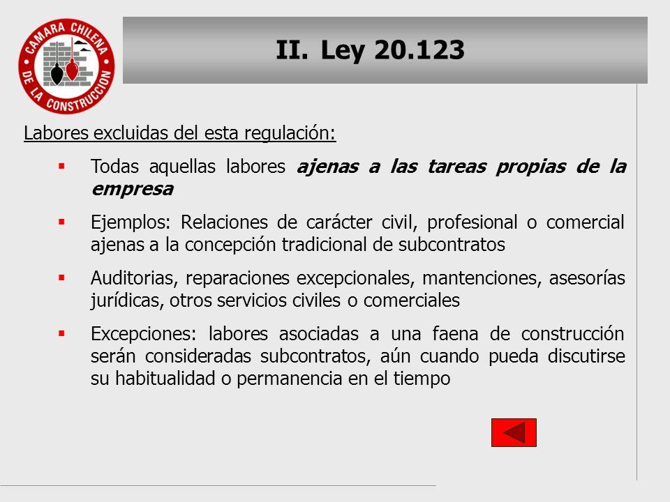 Ley 20.123 Labores excluidas del esta regulación:
