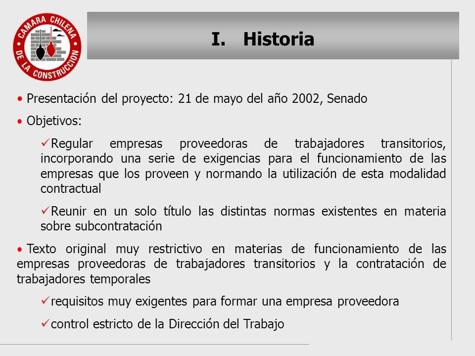 Historia Presentación del proyecto: 21 de mayo del año 2002, Senado