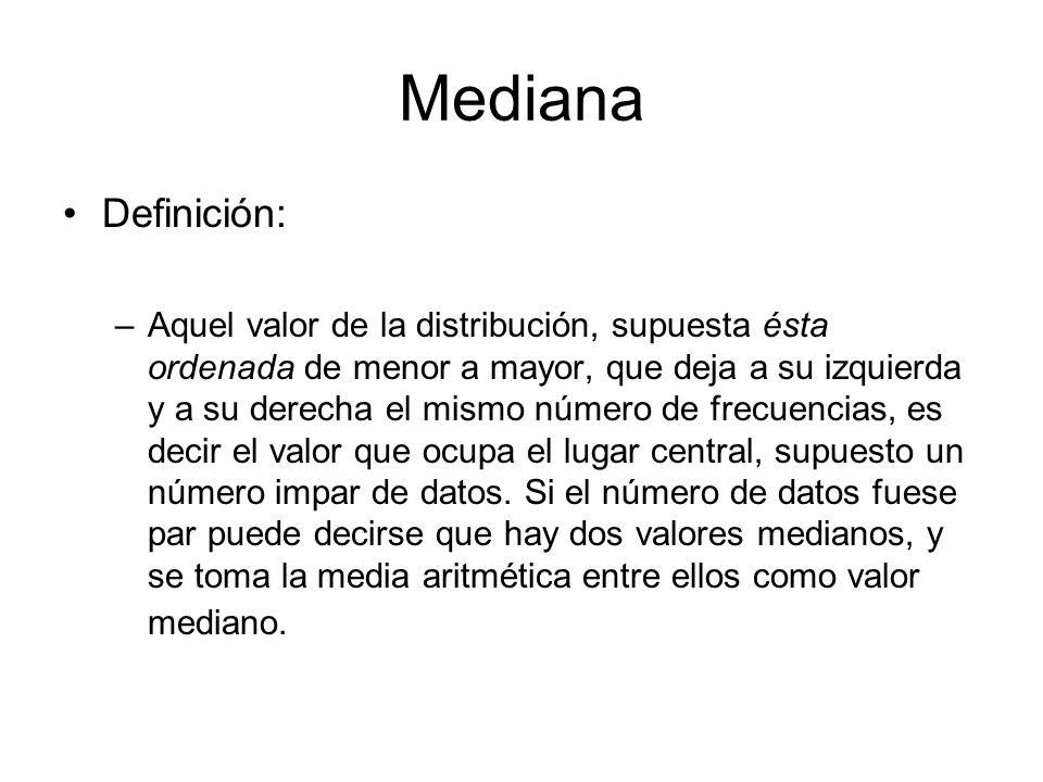 Mediana Definición: