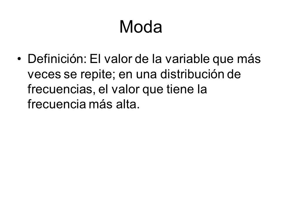 Moda Definición: El valor de la variable que más veces se repite; en una distribución de frecuencias, el valor que tiene la frecuencia más alta.