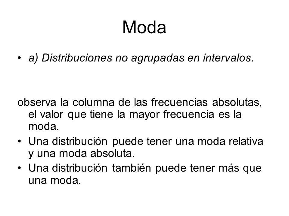 Moda a) Distribuciones no agrupadas en intervalos.