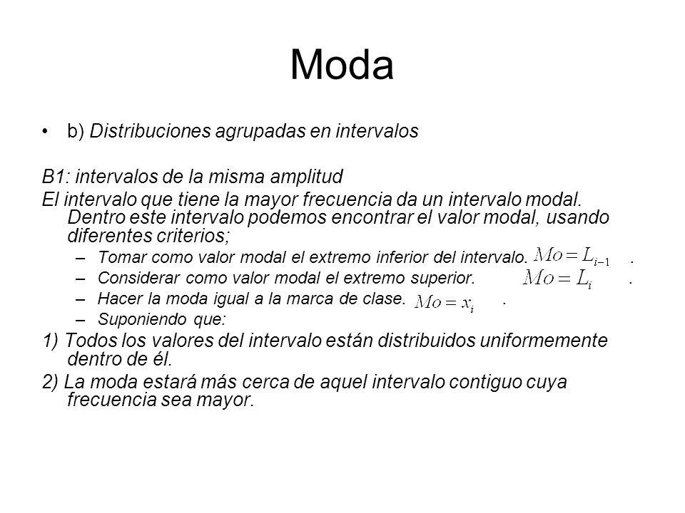 Moda b) Distribuciones agrupadas en intervalos