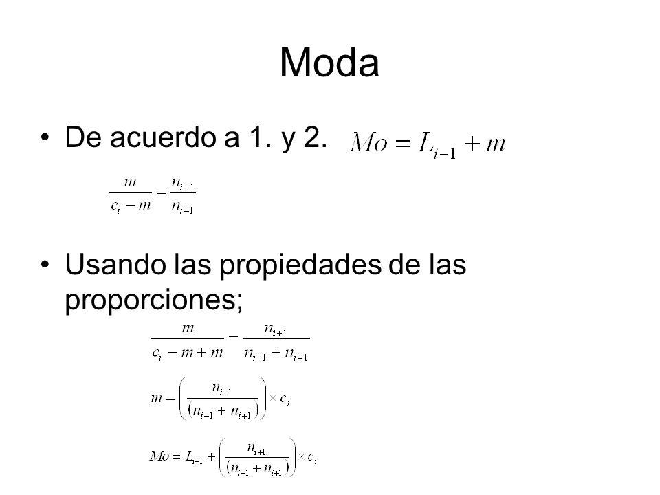 Moda De acuerdo a 1. y 2. Usando las propiedades de las proporciones;