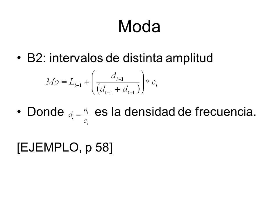 Moda B2: intervalos de distinta amplitud