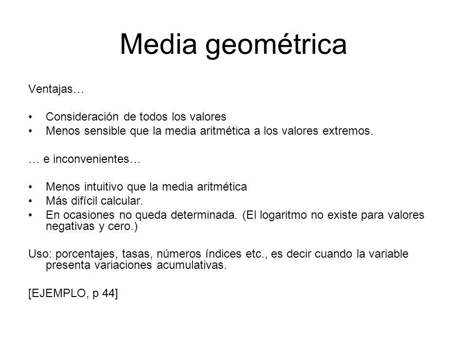 Media geométrica Ventajas… Consideración de todos los valores