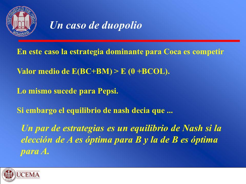 Un caso de duopolio En este caso la estrategia dominante para Coca es competir. Valor medio de E(BC+BM) > E (0 +BCOL).