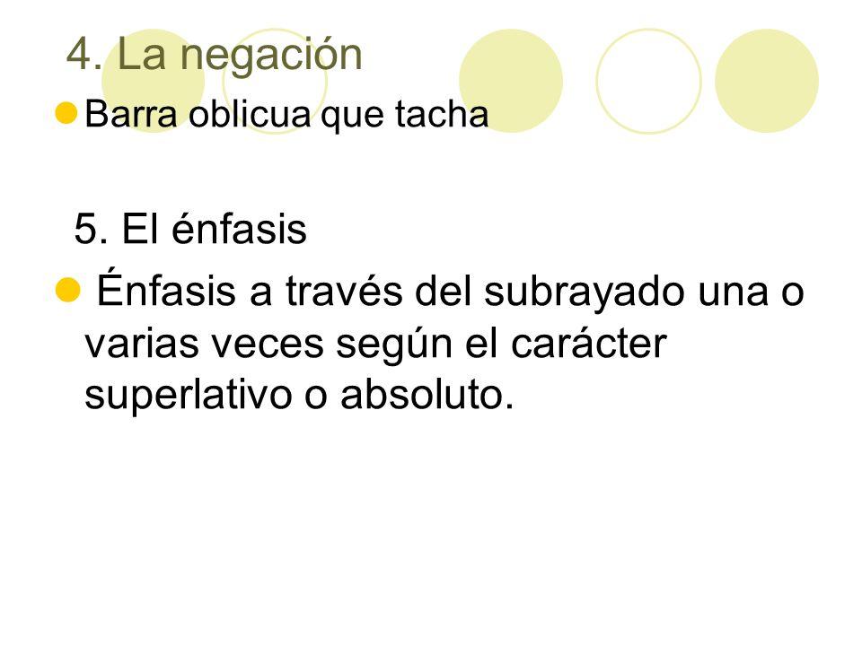 4. La negación Barra oblicua que tacha. 5. El énfasis.