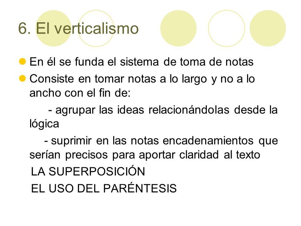 6. El verticalismo En él se funda el sistema de toma de notas