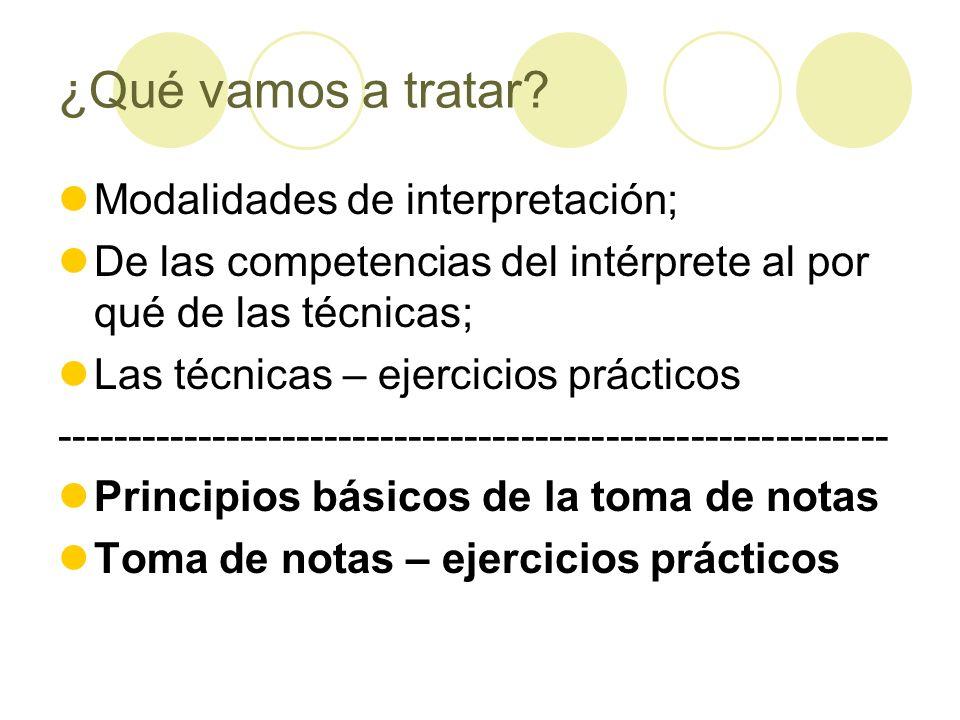 ¿Qué vamos a tratar Modalidades de interpretación;