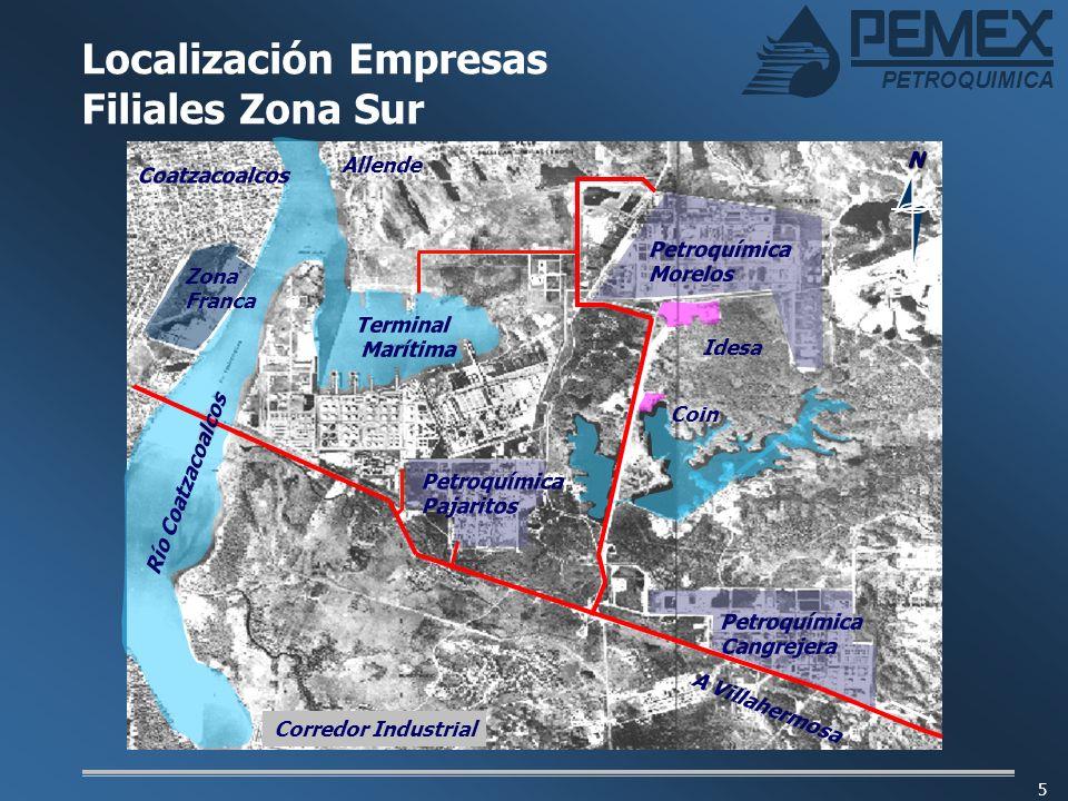 Localización Empresas Filiales Zona Sur
