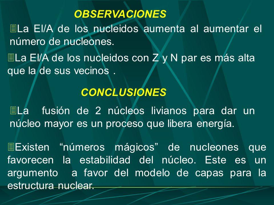 OBSERVACIONES La El/A de los nucleidos aumenta al aumentar el número de nucleones.