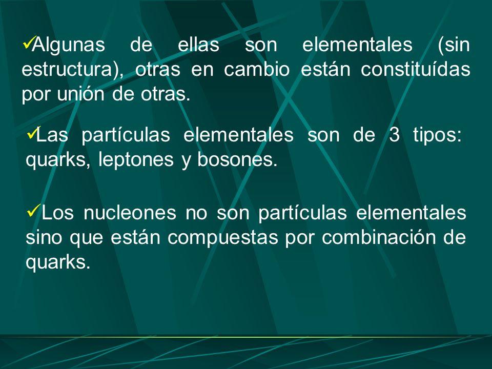 Algunas de ellas son elementales (sin estructura), otras en cambio están constituídas por unión de otras.