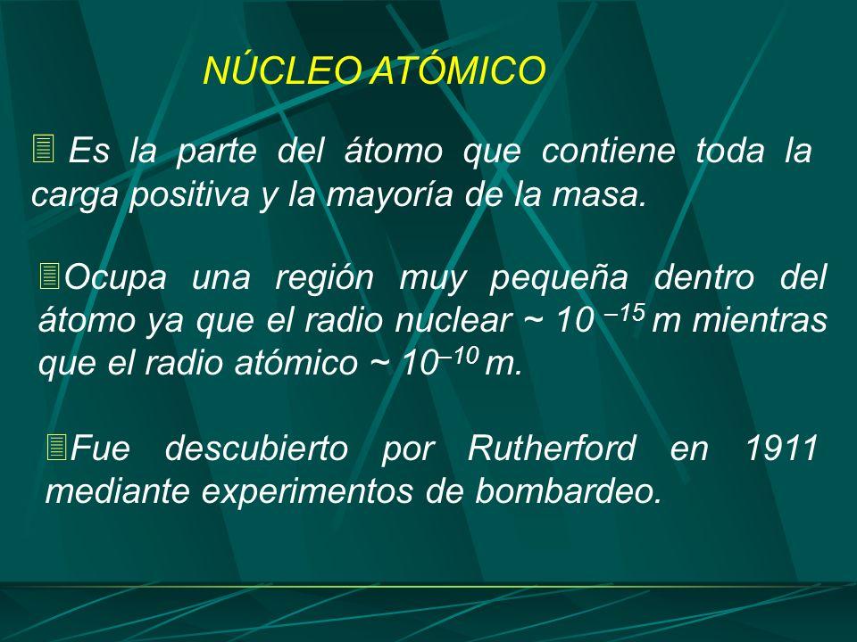 NÚCLEO ATÓMICO Es la parte del átomo que contiene toda la carga positiva y la mayoría de la masa.