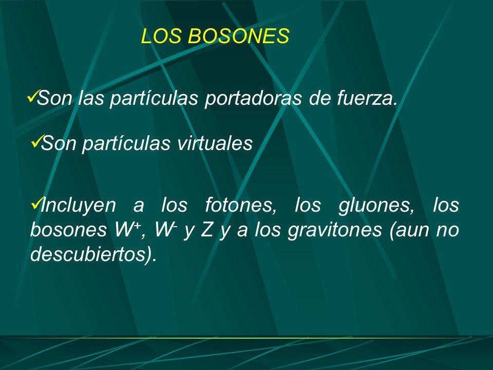 LOS BOSONES Son las partículas portadoras de fuerza. Son partículas virtuales.