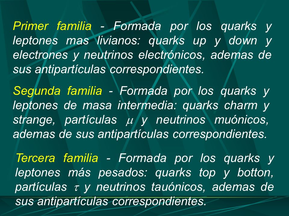 Primer familia - Formada por los quarks y leptones mas livianos: quarks up y down y electrones y neutrinos electrónicos, ademas de sus antipartículas correspondientes.