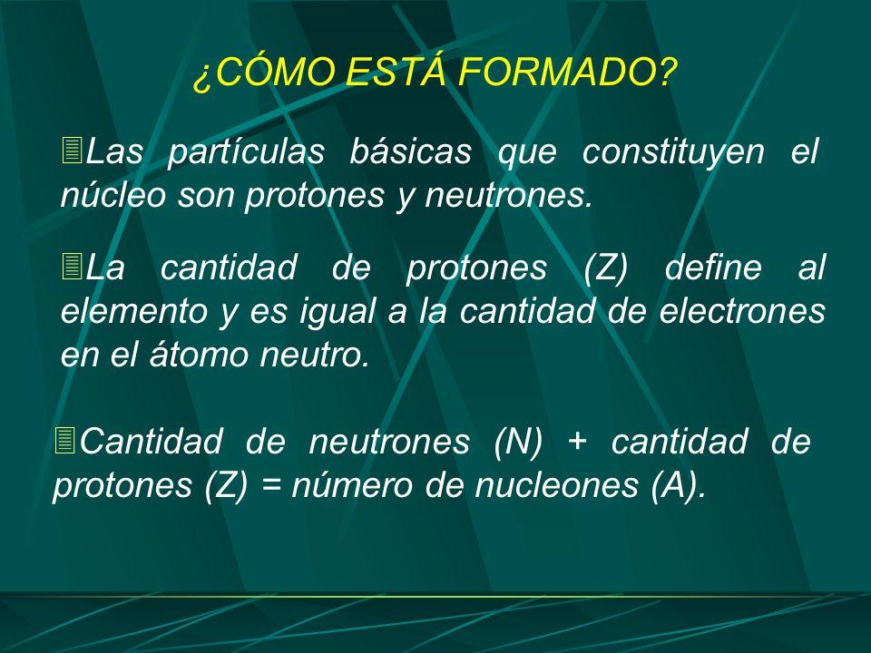 ¿CÓMO ESTÁ FORMADO Las partículas básicas que constituyen el núcleo son protones y neutrones.