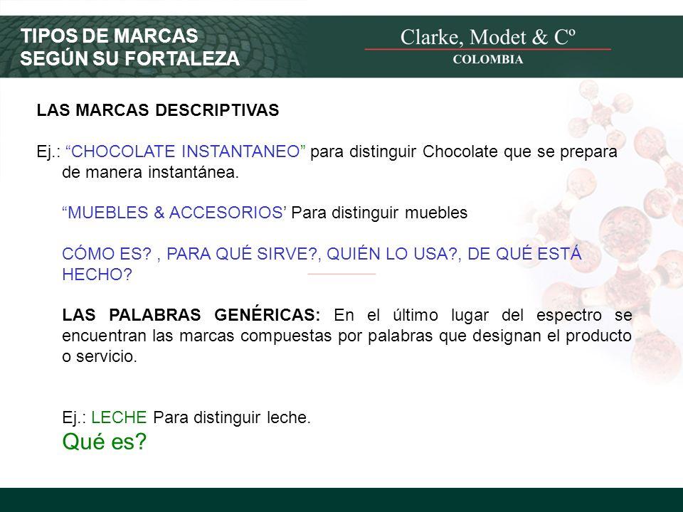 TIPOS DE MARCAS SEGÚN SU FORTALEZA LAS MARCAS DESCRIPTIVAS