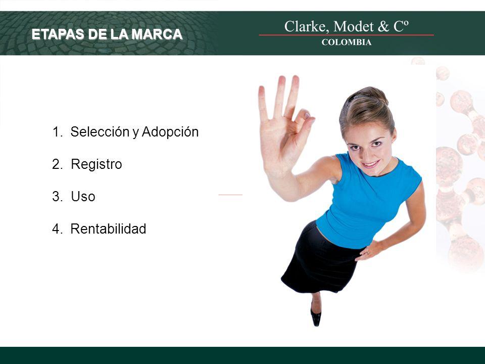 ETAPAS DE LA MARCA Selección y Adopción 2. Registro 3. Uso Rentabilidad