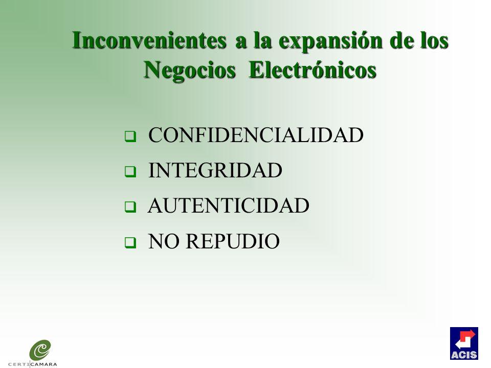 Inconvenientes a la expansión de los Negocios Electrónicos