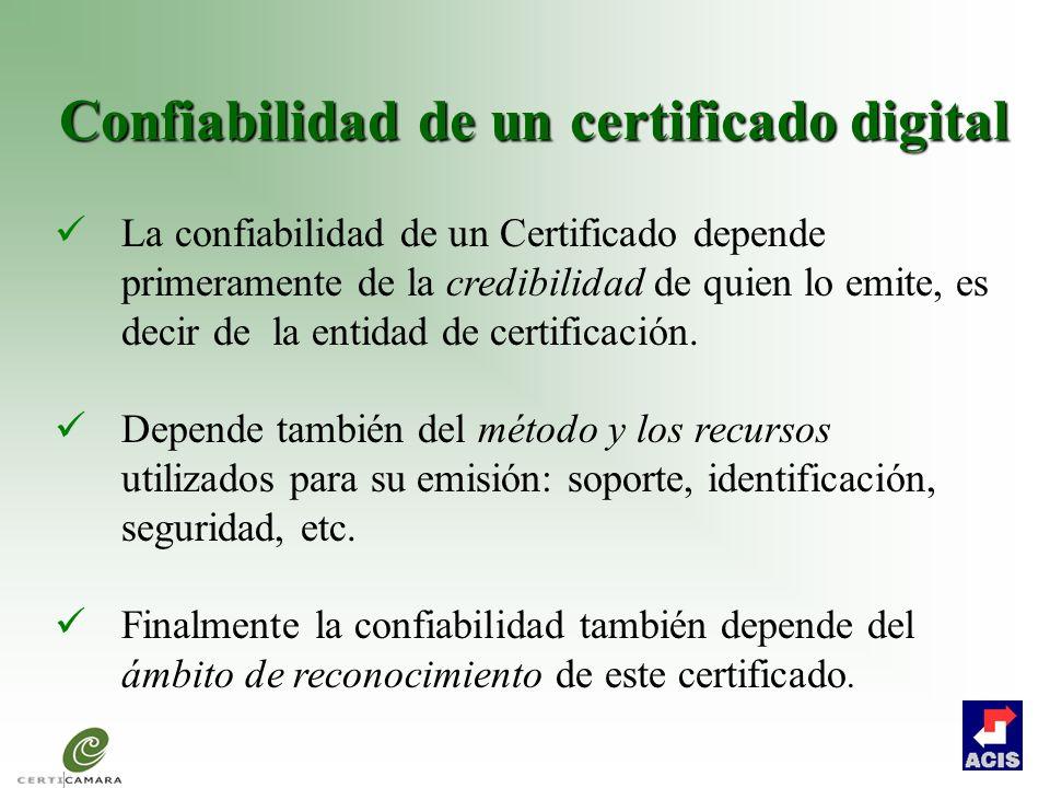 Confiabilidad de un certificado digital