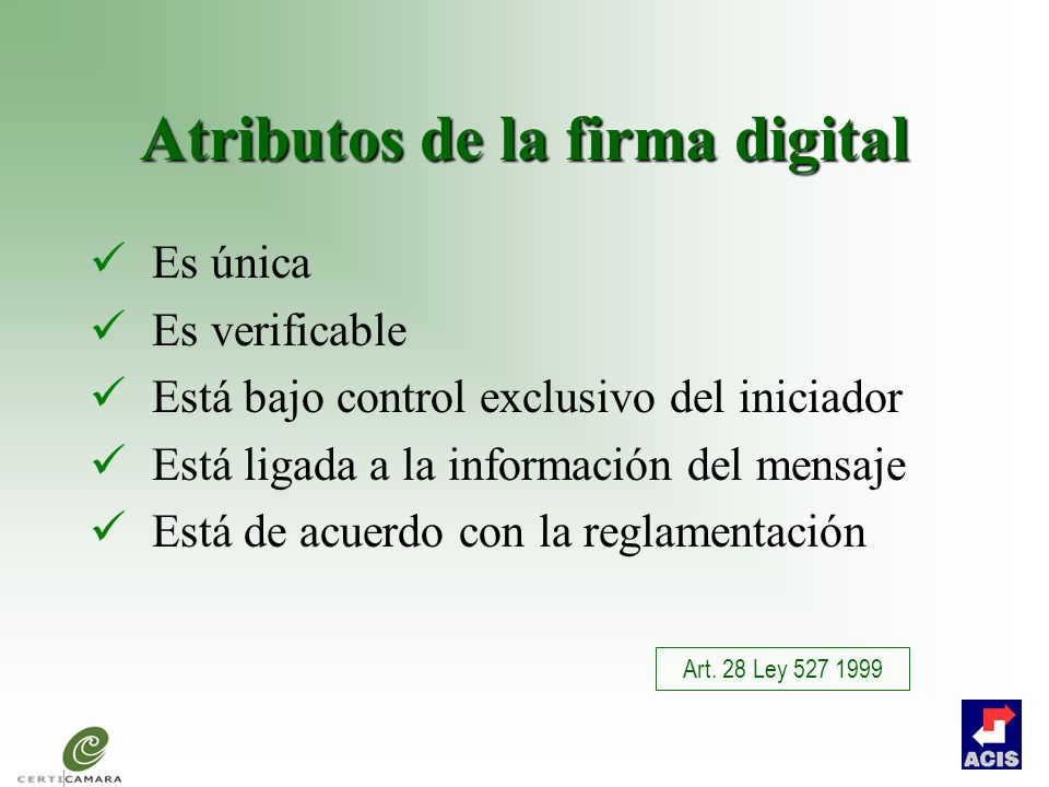Atributos de la firma digital