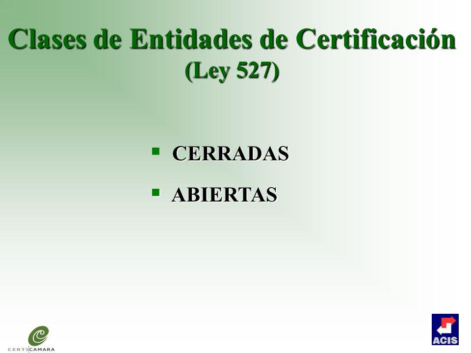 Clases de Entidades de Certificación (Ley 527)