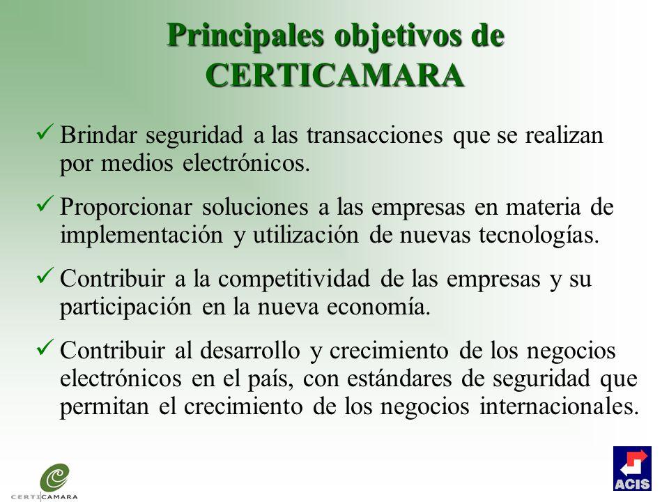 Principales objetivos de CERTICAMARA