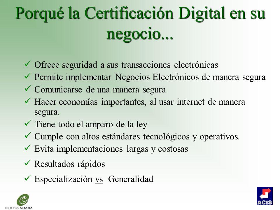 Porqué la Certificación Digital en su negocio...