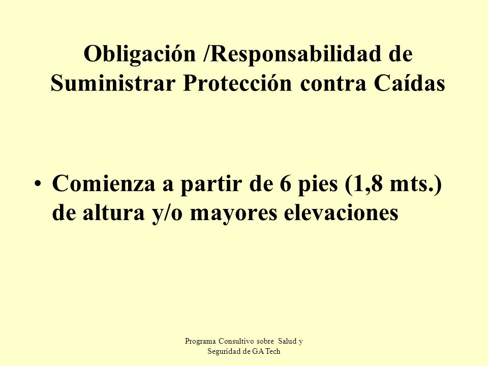 Obligación /Responsabilidad de Suministrar Protección contra Caídas