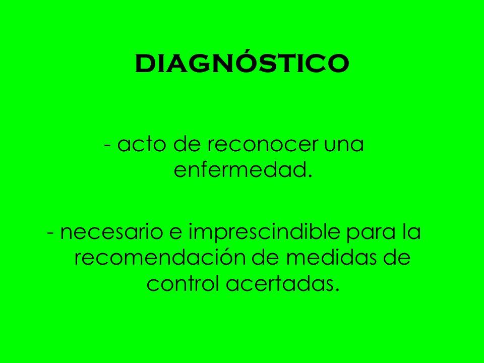 - acto de reconocer una enfermedad.