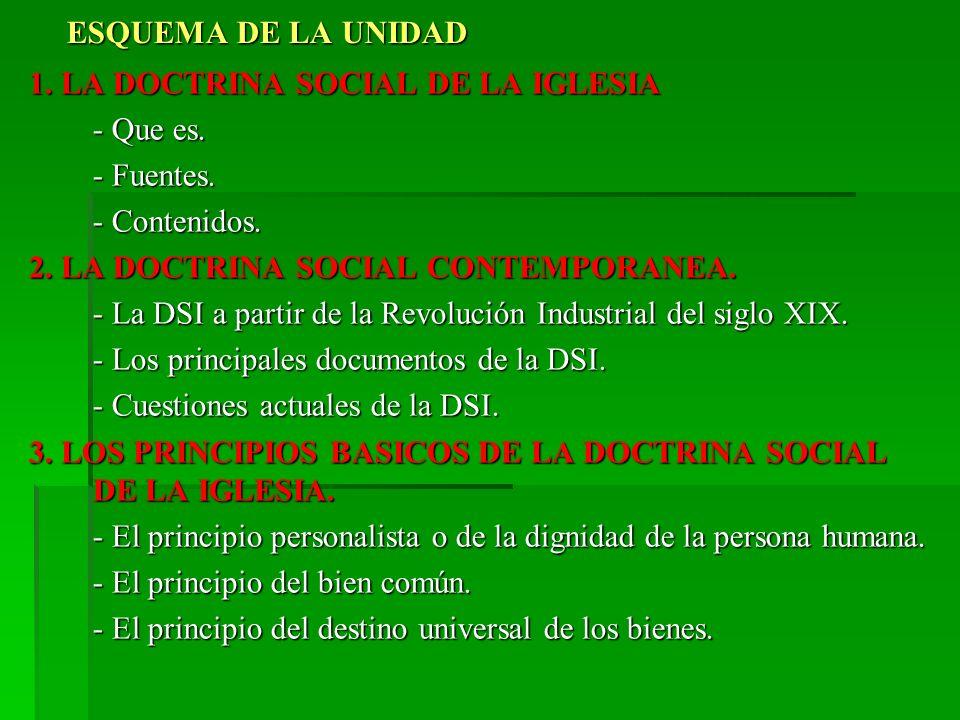 ESQUEMA DE LA UNIDAD 1. LA DOCTRINA SOCIAL DE LA IGLESIA. - Que es. - Fuentes. - Contenidos. 2. LA DOCTRINA SOCIAL CONTEMPORANEA.