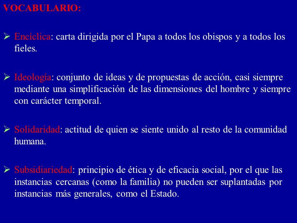 VOCABULARIO: Encíclica: carta dirigida por el Papa a todos los obispos y a todos los fieles.