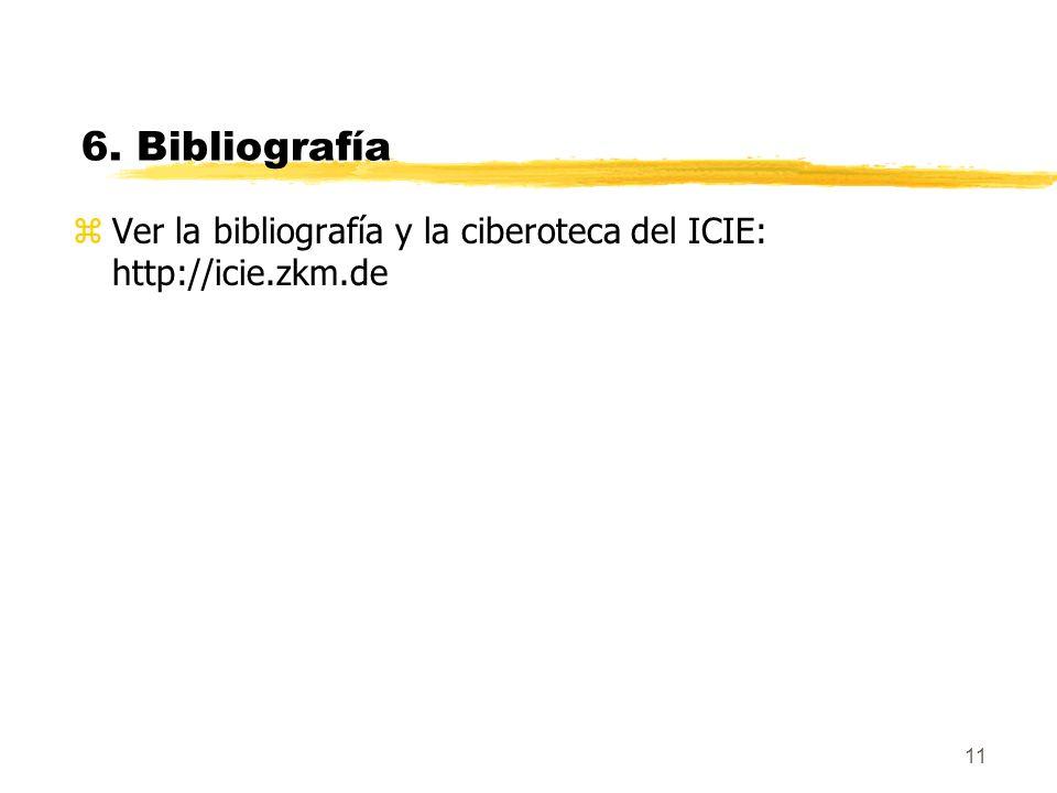 6. Bibliografía Ver la bibliografía y la ciberoteca del ICIE: http://icie.zkm.de