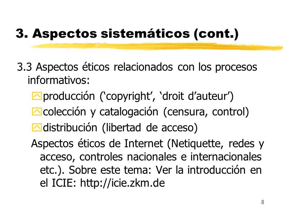3. Aspectos sistemáticos (cont.)