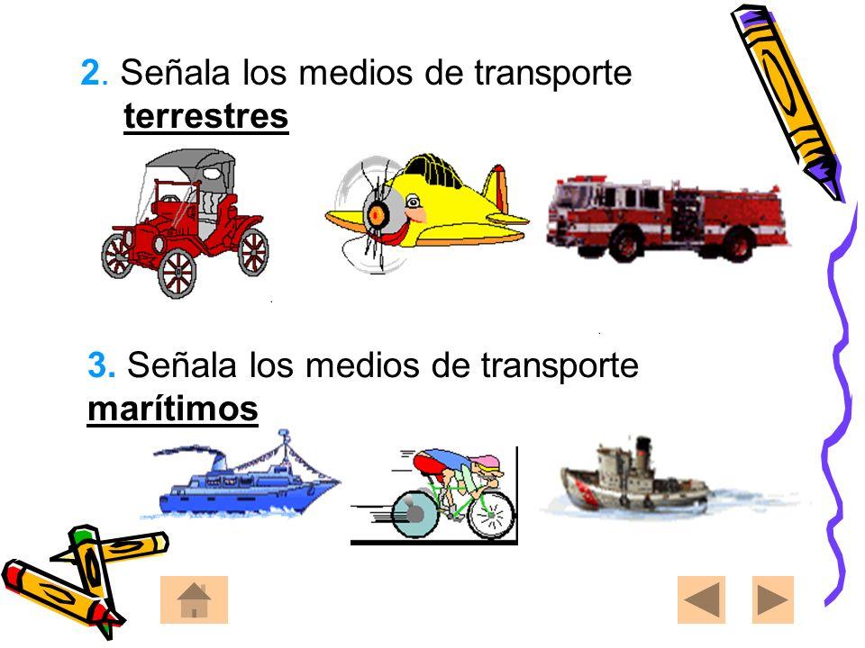 2. Señala los medios de transporte terrestres