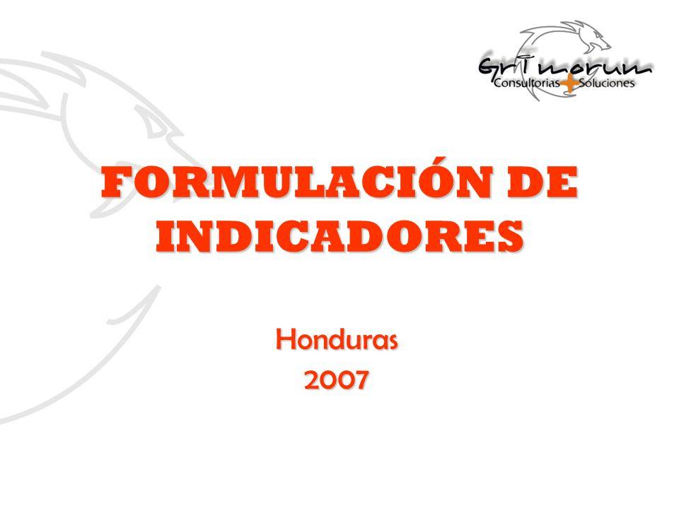 FORMULACIÓN DE INDICADORES