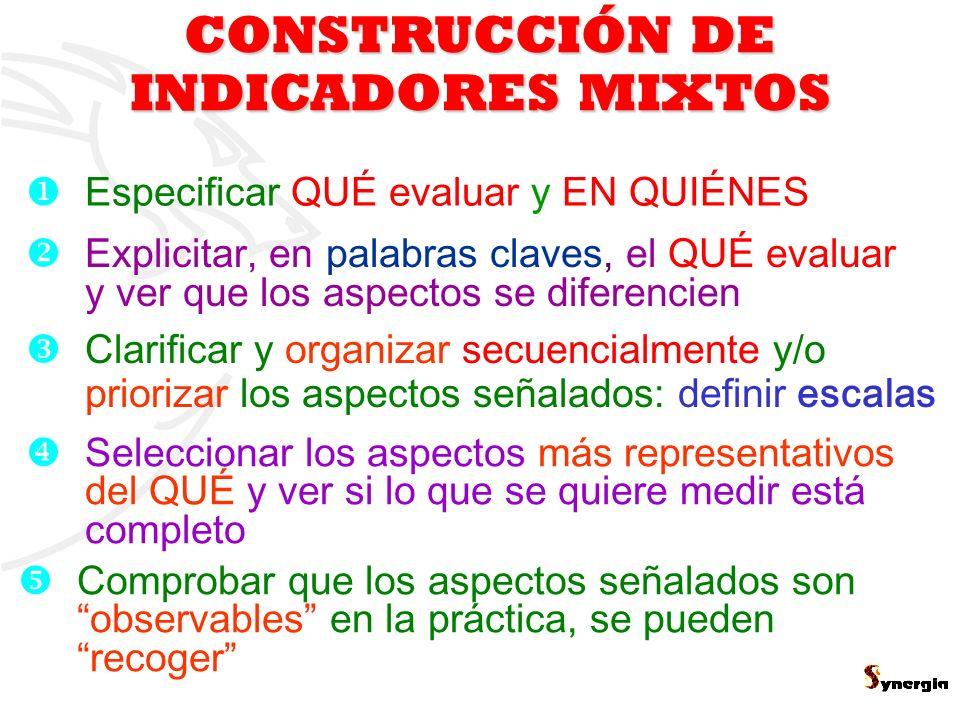 CONSTRUCCIÓN DE INDICADORES MIXTOS