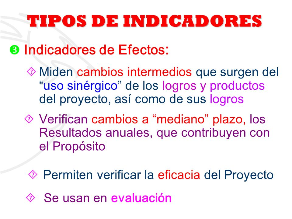 TIPOS DE INDICADORES Indicadores de Efectos: