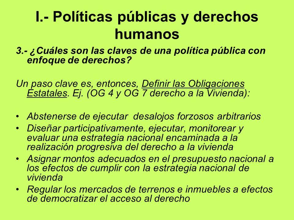 I.- Políticas públicas y derechos humanos