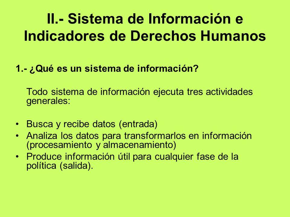 II.- Sistema de Información e Indicadores de Derechos Humanos