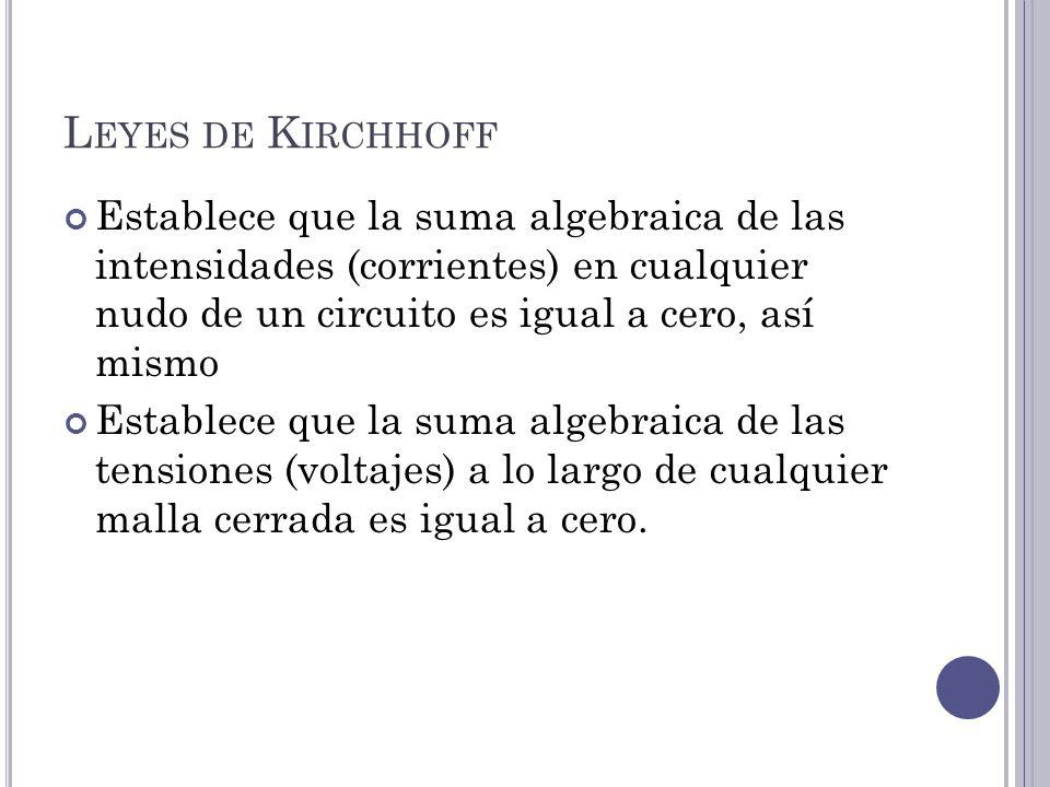 Leyes de Kirchhoff Establece que la suma algebraica de las intensidades (corrientes) en cualquier nudo de un circuito es igual a cero, así mismo.