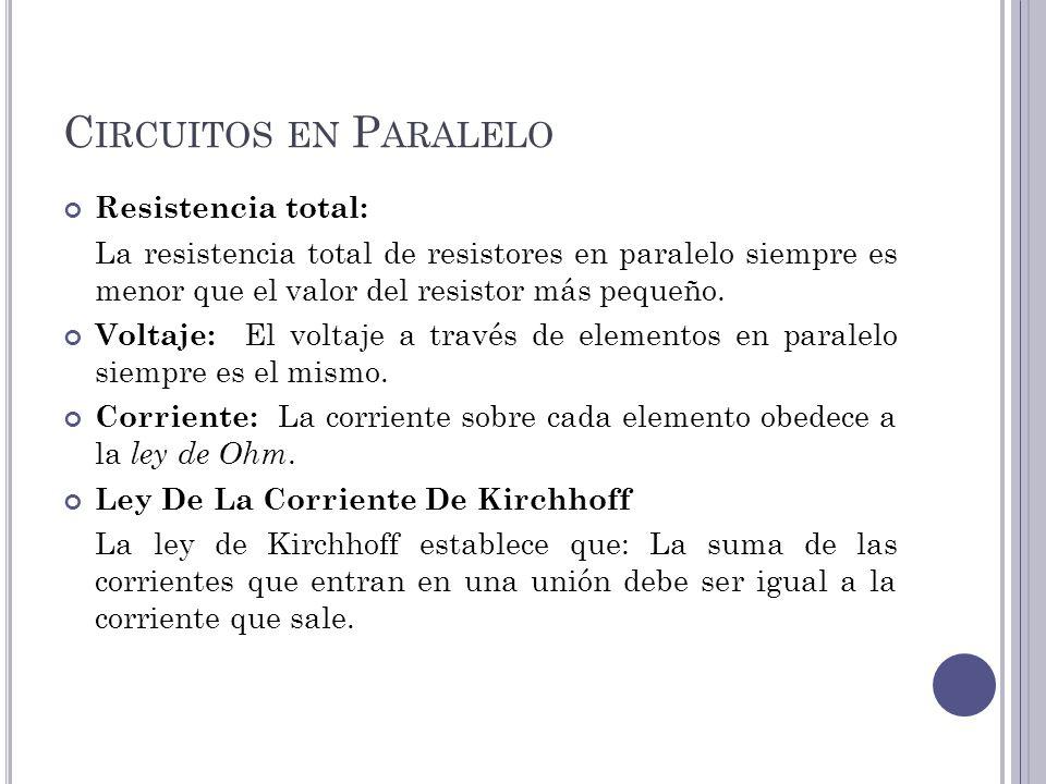 Circuitos en Paralelo Resistencia total: