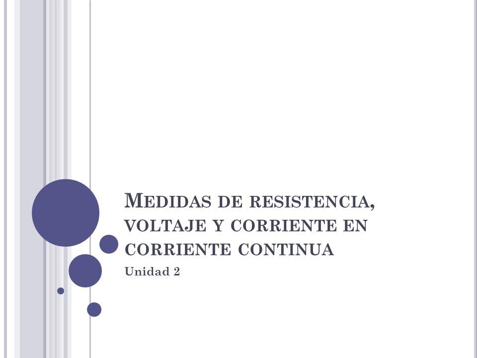 Medidas de resistencia, voltaje y corriente en corriente continua